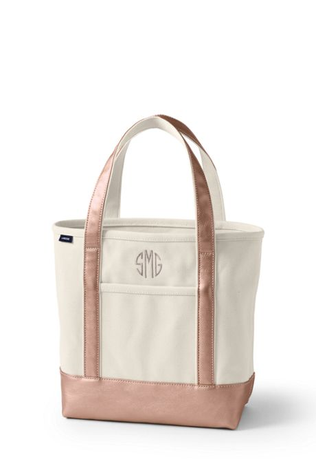 Medium Natural Rose Gold Zip Top Canvas Tote Bag