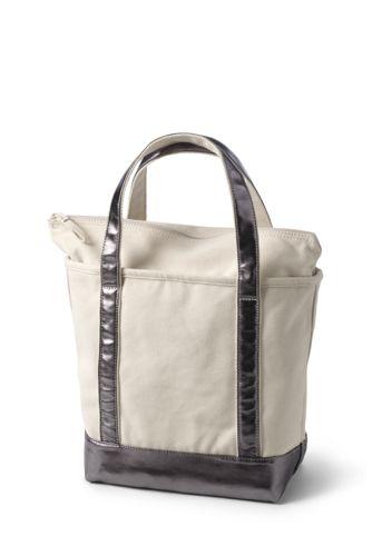 Medium Natural Metallic Zip Top Canvas Tote Bag