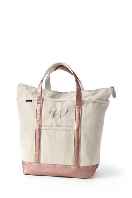 Large Natural Rose Gold Zip Top Canvas Tote Bag