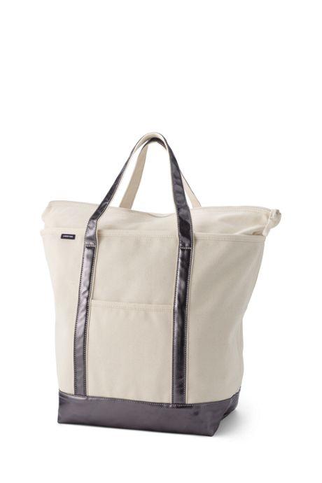 Large Natural Metallic Zip Top Canvas Tote Bag