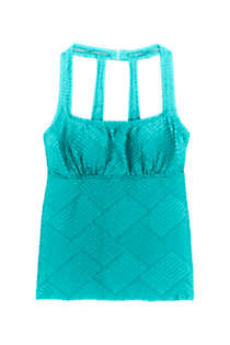 Women's D-Cup Texture Portrait Back Tankini Top, Front