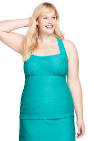 Women's Plus Size Texture Portrait Back Tankini Top