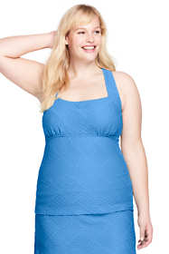 Women's Plus Size Long Texture Portrait Back Tankini Top