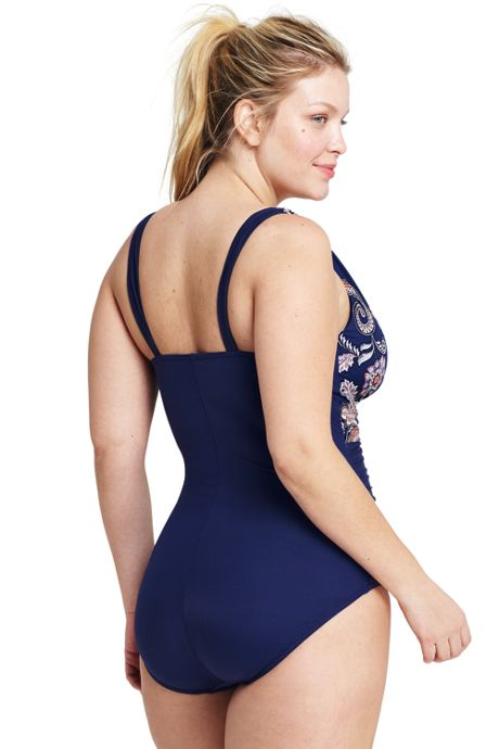 Women's Plus Size Slender Grecian One Piece Swimsuit with Tummy Control