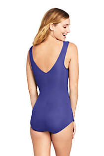 Women's Petite Slender Surplice Wrap Tummy Control Chlorine Resistant Skirted One Piece Swimsuit, Back