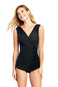 Women's Petite Slender Surplice Tunic One Piece Swimsuit with Tummy Control