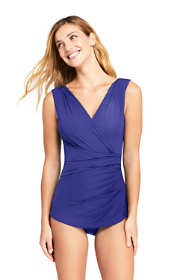 Women's Long Slender Surplice Tunic One Piece Swimsuit with Tummy Control