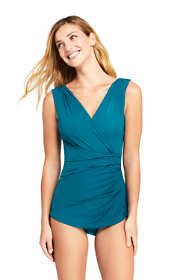 Women's DDD-Cup Slender Surplice Tunic One Piece Swimsuit with Tummy Control