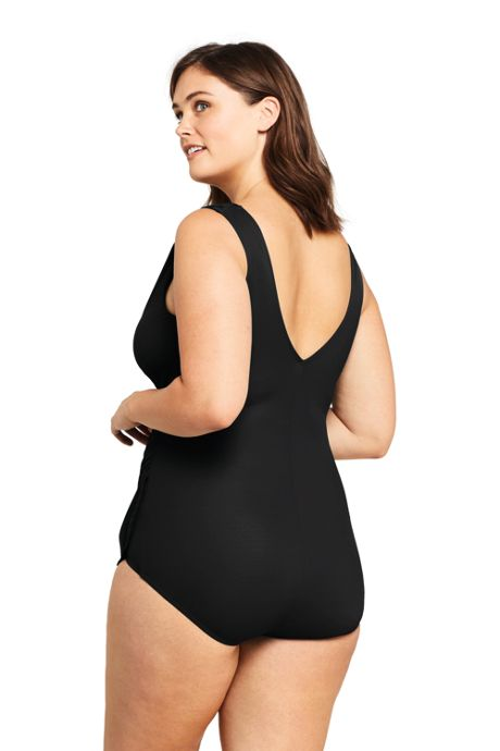 Women's Plus Size DDD-Cup Slender Surplice Tunic One Piece Swimsuit with Tummy Control