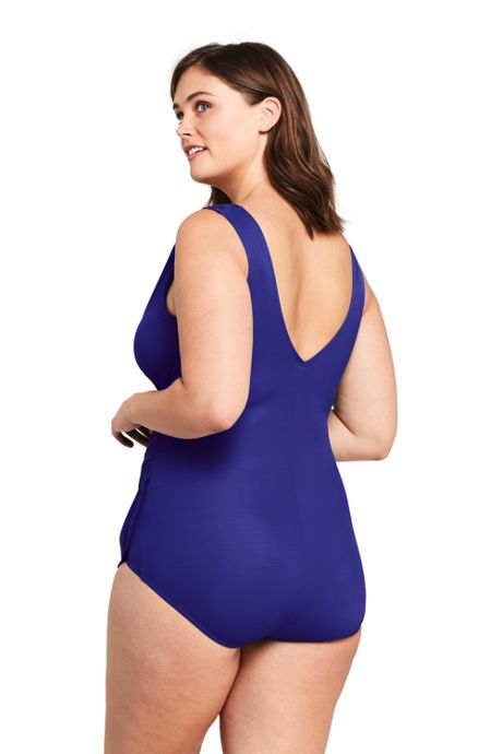 Women's Plus Size Slender Surplice Tunic One Piece Swimsuit with Tummy Control