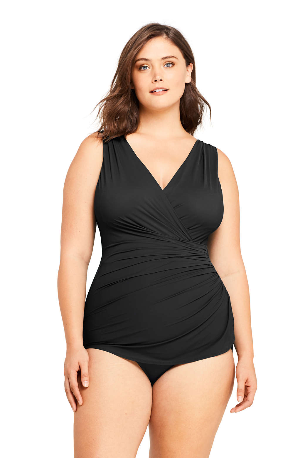 ccc9ed27c8e Lands End Womens Slender Surplice Tunic One Piece Swimsuit with Tummy  Control Women Sports & Outdoors