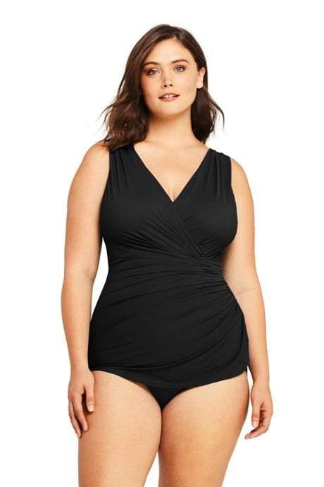 Women's Plus Size Slender Surplice Wrap Tummy Control Chlorine Resistant Skirted One Piece Swimsuit
