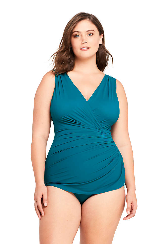 Women's Plus Size Long Slender Wrap Tummy Control Chlorine Resistant Skirted One Piece Swimsuit, Front