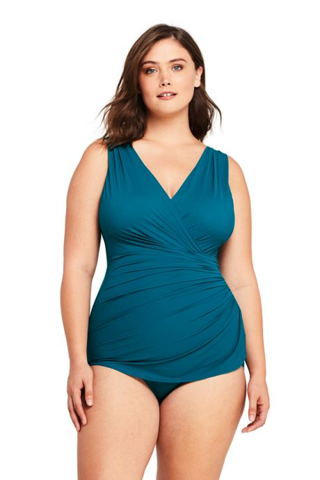Women's Plus Size DD-Cup Slender Surplice Tunic One Piece Swimsuit with Tummy Control