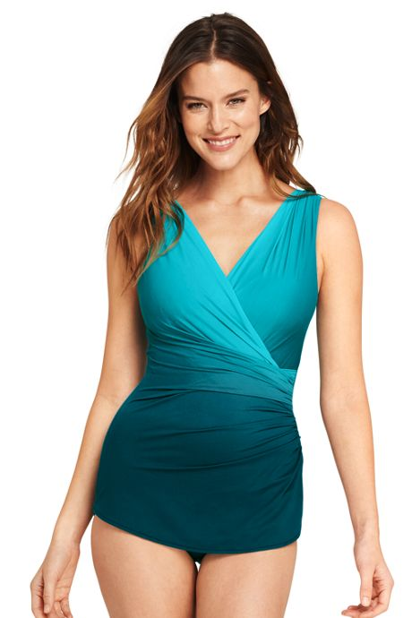 Women's D-Cup Slender Surplice Tunic One Piece Swimsuit with Tummy Control