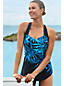 Women's D-Cup Slender Tunic Palm Ombre Print Swimsuit
