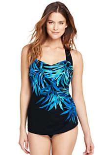 Women's Petite Slender Tunic One Piece Swimsuit with Tummy Control, Front