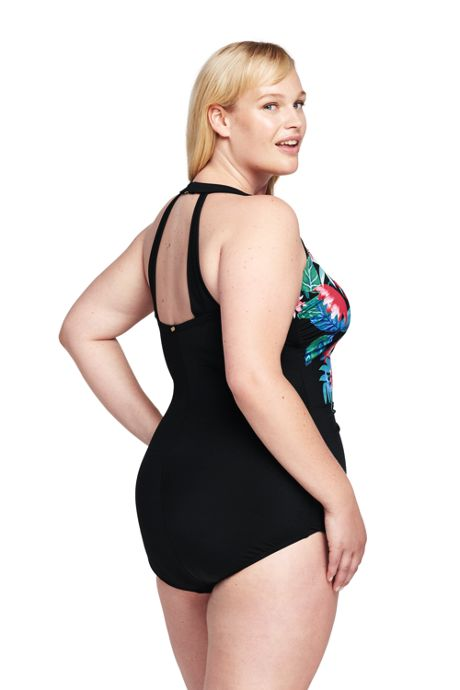 Women's Plus Size Slender Tunic One Piece Swimsuit with Tummy Control
