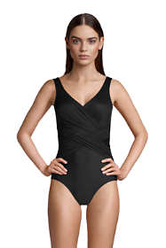 Women's Petite Slender Tummy Control Chlorine Resistant V-neck Wrap One Piece Swimsuit