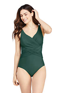 Women's Slender Tummy Control Chlorine Resistant V-neck Wrap One Piece Swimsuit, Front