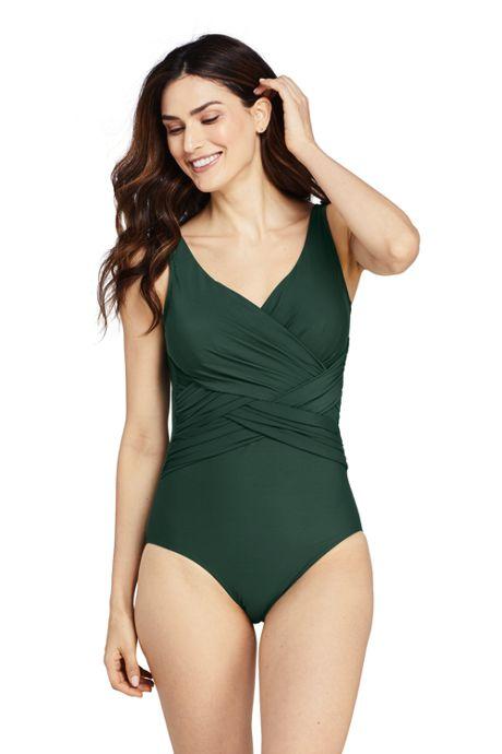 Women's Slender Tummy Control Chlorine Resistant V-neck Wrap One Piece Swimsuit