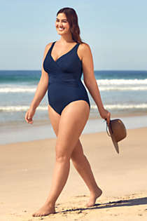 Women's Plus Size Slender Tummy Control Chlorine Resistant V-neck Wrap One Piece Swimsuit, alternative image