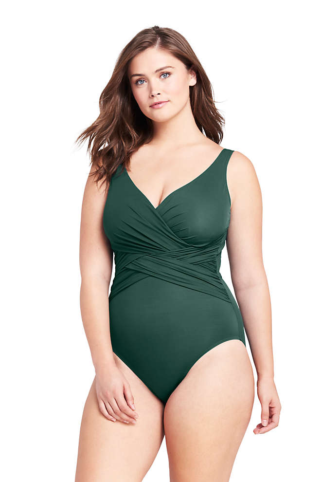Women's Plus Size Slender Tummy Control Chlorine Resistant V-neck Wrap One Piece Swimsuit, Front