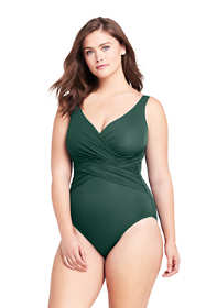 Women's Plus Size Slender Tummy Control Chlorine Resistant V-neck Wrap One Piece Swimsuit