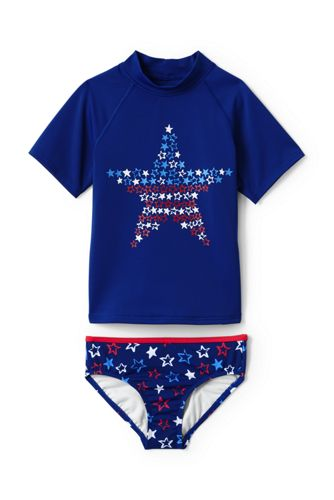 Toddler Girls Rash Guard Swimsuit Set From Lands End