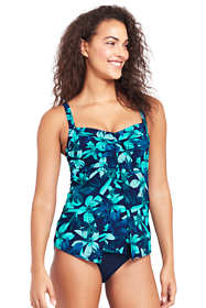 Women's Shaping Underwire V-neck Tankini Top with Tummy Control