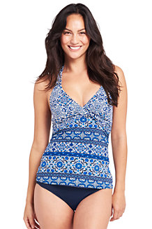 Lands' End Le Short de Bain Gainant, Femme, Grande Taille - Bleu - 60