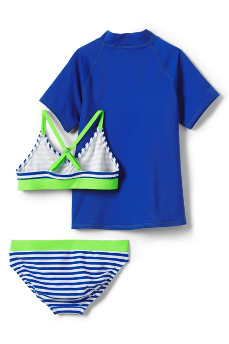 Little Girls Rash Guard Three Piece Swimsuit Set