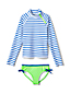 Girls' Rash Vest Bow Trim Swim Set