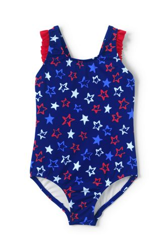 Toddler Girls Back Bow One Piece Swimsuit From Lands End