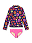 Little Girls' Long Sleeve Ruffle Hem Rash Vest Set