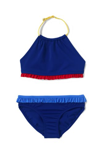 Girls' Halter Neck Contrast Ruffle Trim Bikini Set