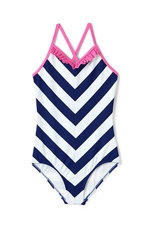 5e5efefe0c706 Girls' Striped Ruffle Swimsuit   Lands' End