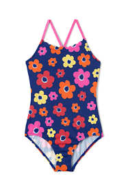 Girls Slim Scalloped Edge One Piece Swimsuit