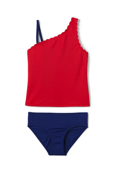 Girls Plus Scalloped Edge Tankini Swimsuit Set