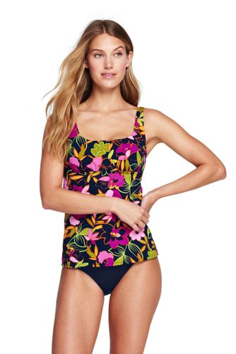 Women's Beach Living Squareneck Tankini Top Jungle Floral