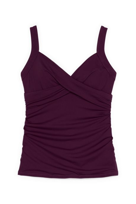 Women's Plus Size Wrap Underwire Tankini Top Swimsuit