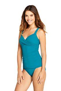 Lands End Womens Wrap Underwire Tankini Top Swimsuit
