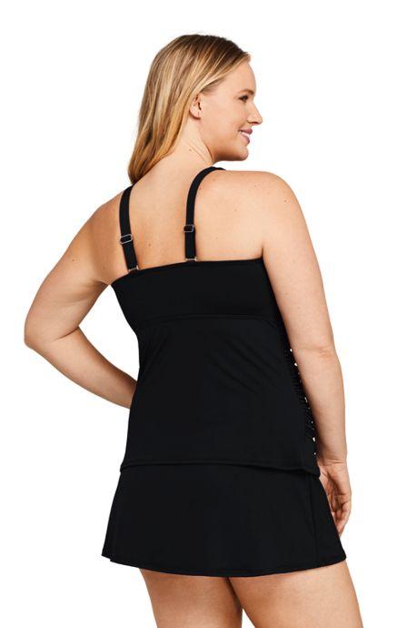 Women's Plus Size Wrap Underwire Tankini Top Swimsuit with Tummy Control