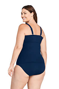 Women's Plus Size DD-Cup Tummy Control V-Neck Wrap Underwire Tankini Top Swimsuit Adjustable Straps, Back