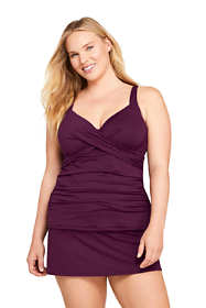 Women's Plus Size V-Neck Wrap Underwire Tankini Top Swimsuit with Adjustable Straps