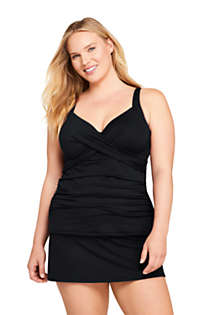 Women's Plus Size DD-Cup Tummy Control V-Neck Wrap Underwire Tankini Top Swimsuit Adjustable Straps, Front