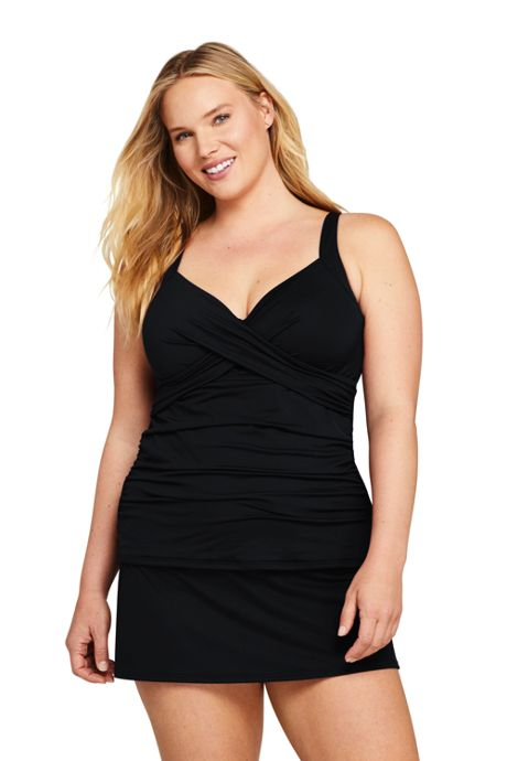 Women's Plus Size Tummy Control V-Neck Wrap Underwire Tankini Top Swimsuit with Adjustable Straps