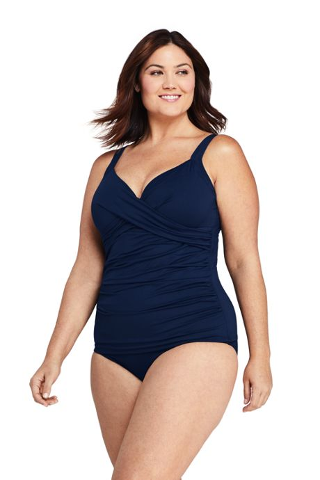 Women's Plus Size DDD-Cup Wrap Underwire Tankini Top Swimsuit with Tummy Control