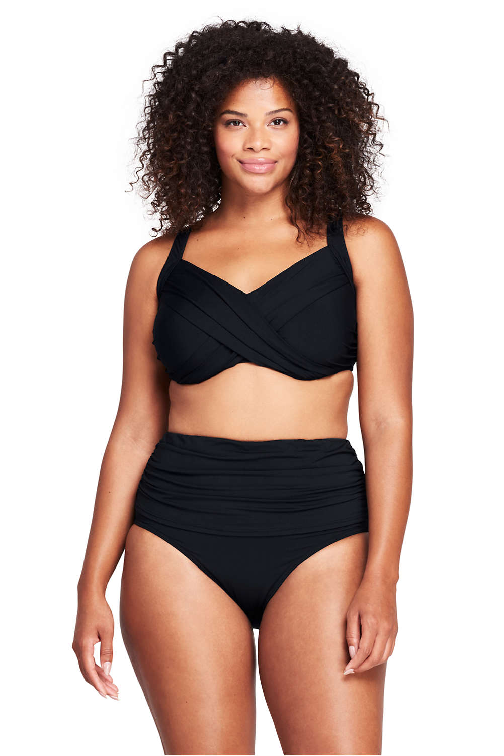 315a5858ec Women's Plus Size DDD-Cup Underwire Wrap Bikini Top from Lands' End