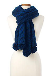 Womens Tassel Fringe Scarf - BLUE Lands End 2rtKSpU